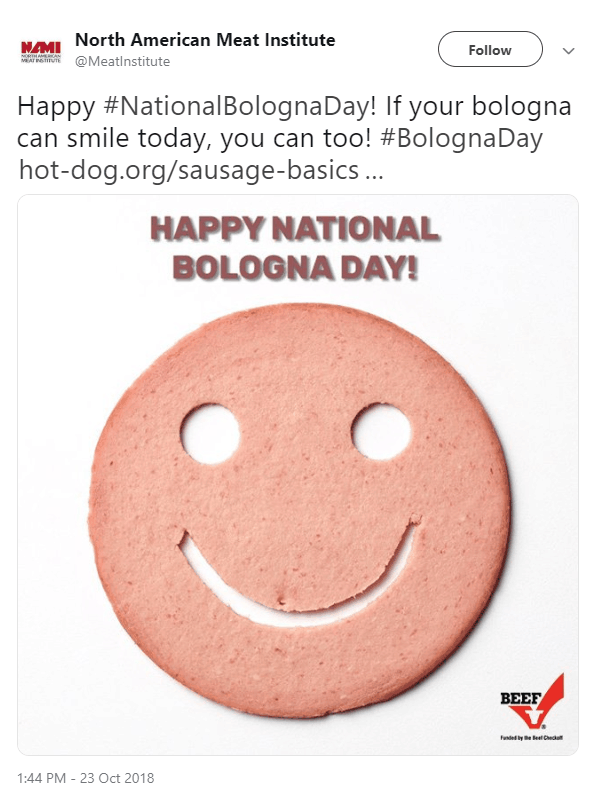 Facebook post for National Bologna Day
