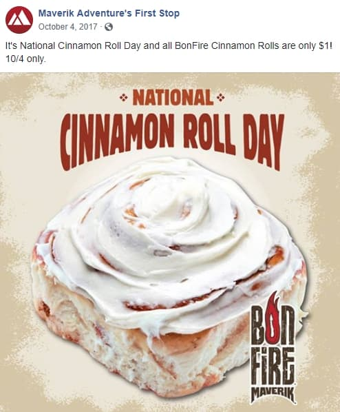 Facebook post for Cinnamon Roll Day