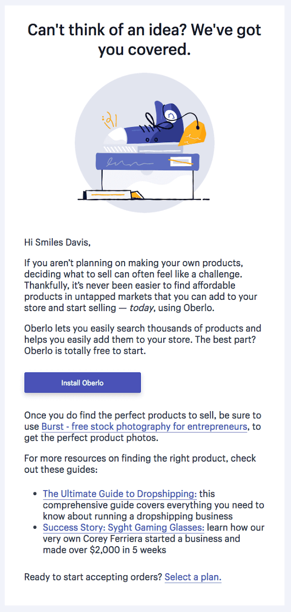 Shopify onboarding email