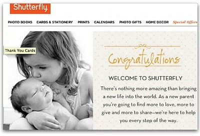 Congratulation email by Shutterfly