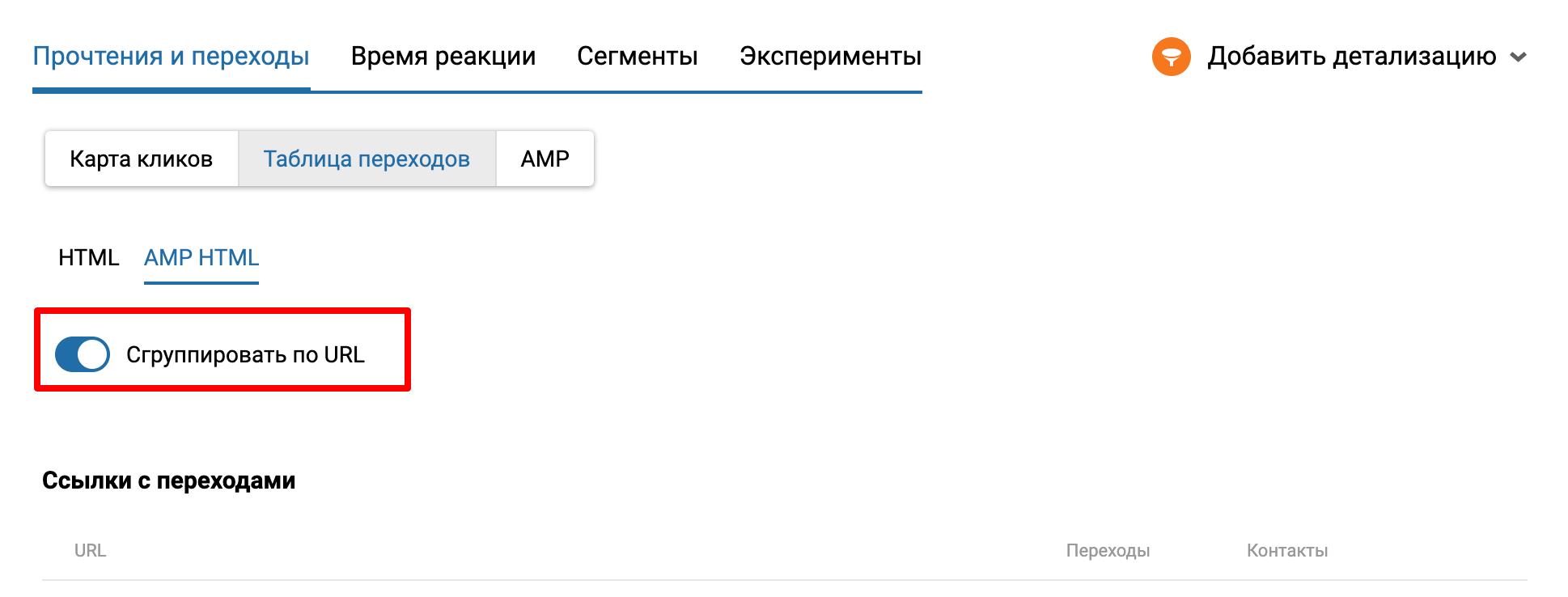 Сгруппировать по URL