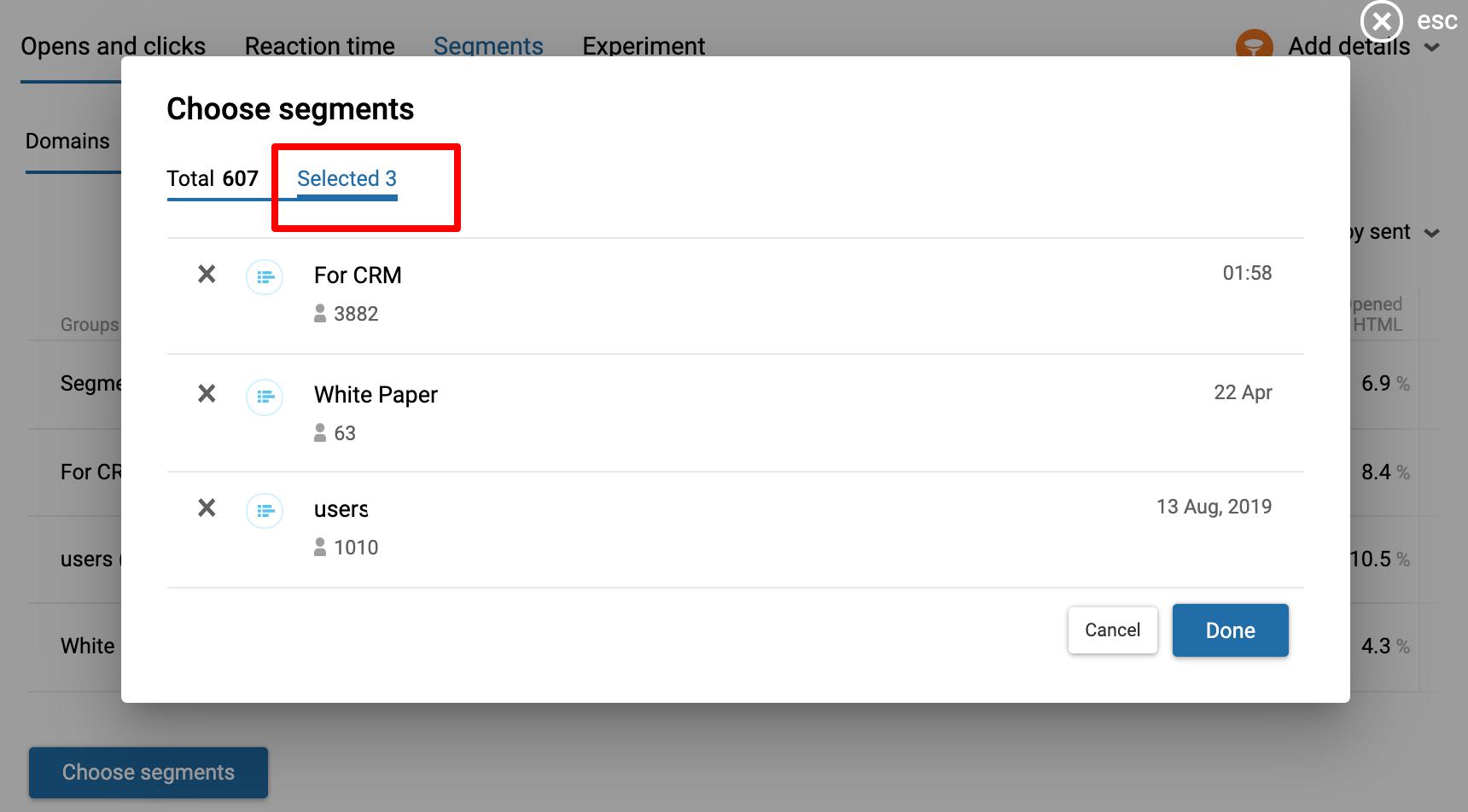 Click choose segments