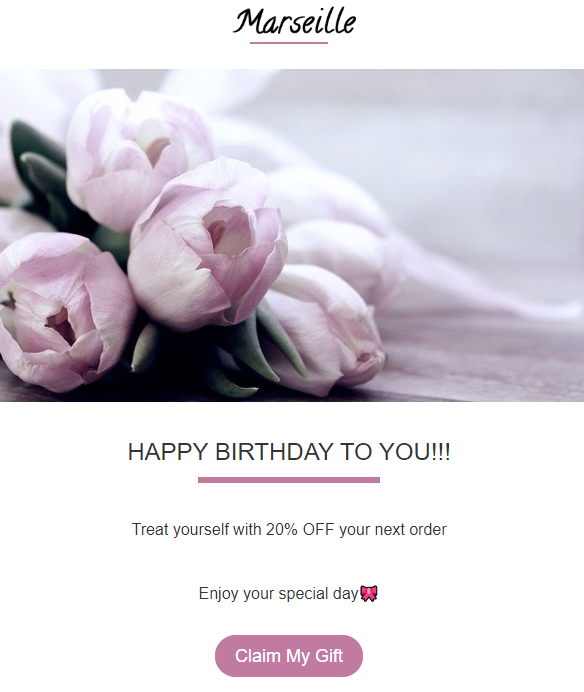 Birthday email template