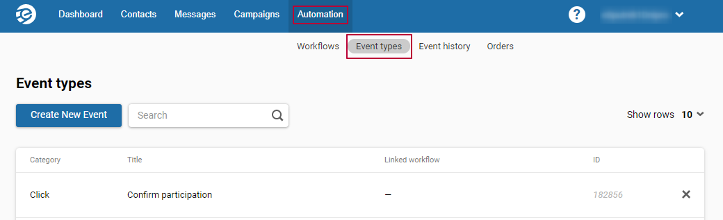 Automation > Event types > Create New Event