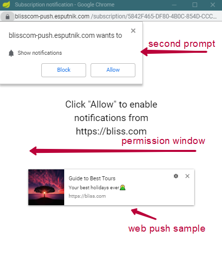 Permission window with a second permission prompt