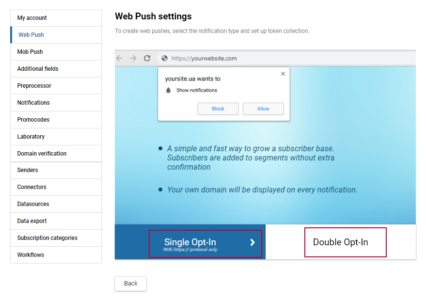 Web push settings: choose the prompt type