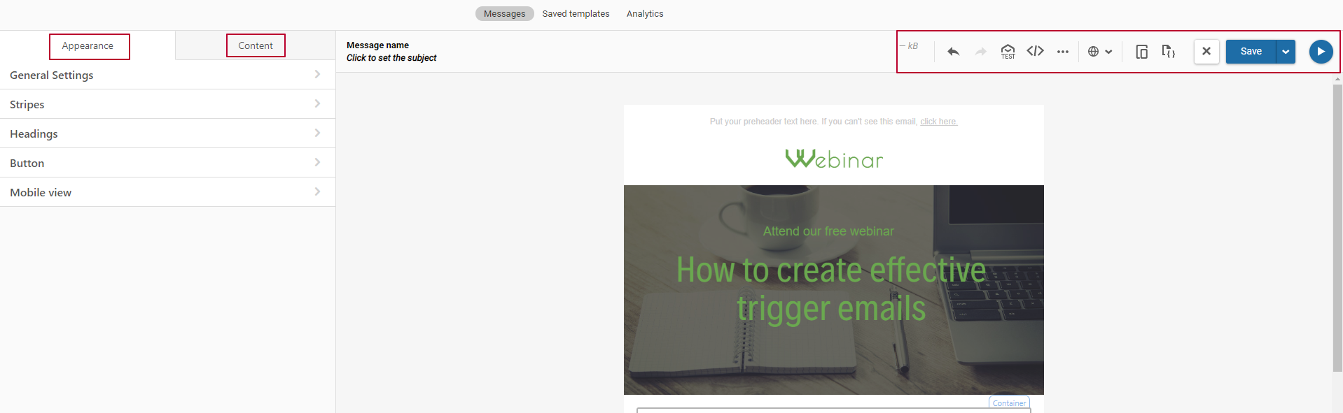 Create an email design