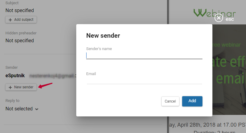 Email info: sender