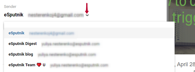 Email info: sender names