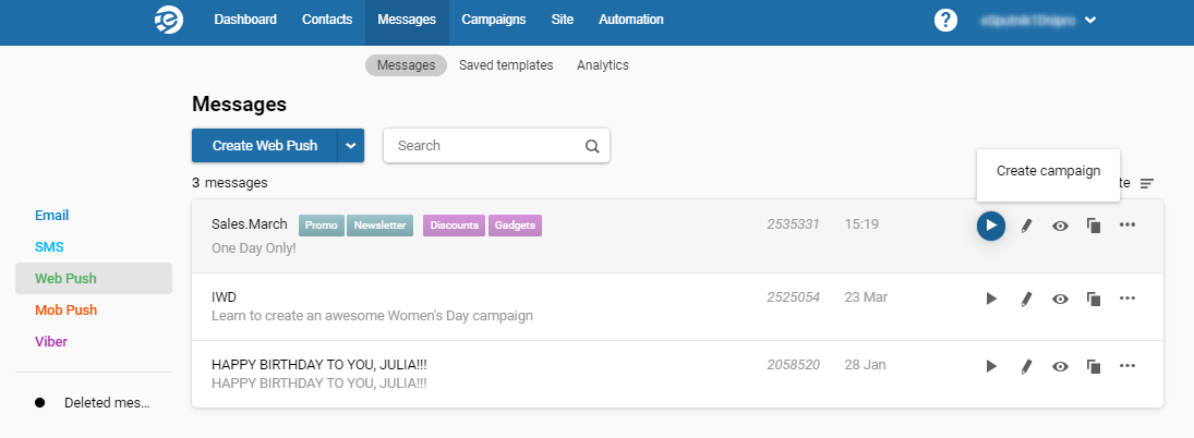 Creating campaign