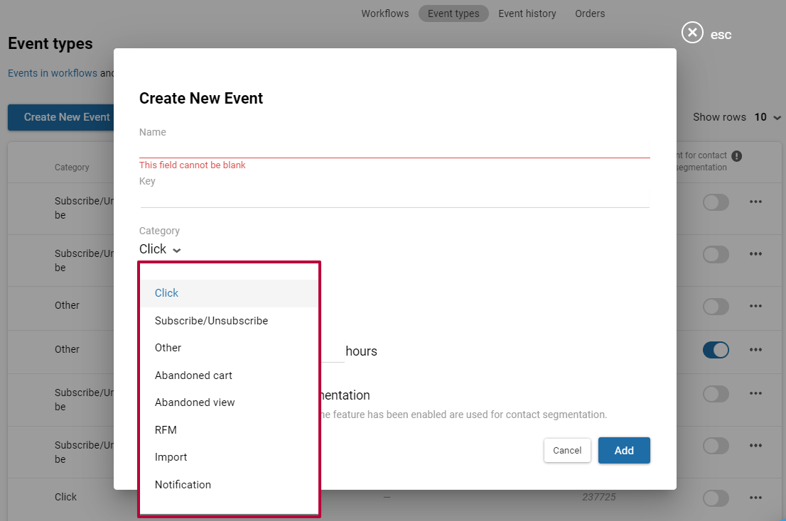 Event categories in the eSputnik system