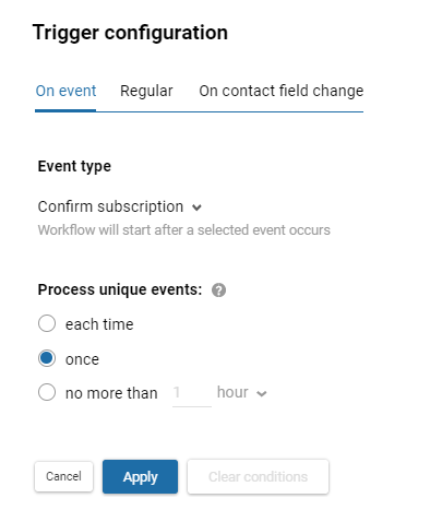 Workflow launch on event