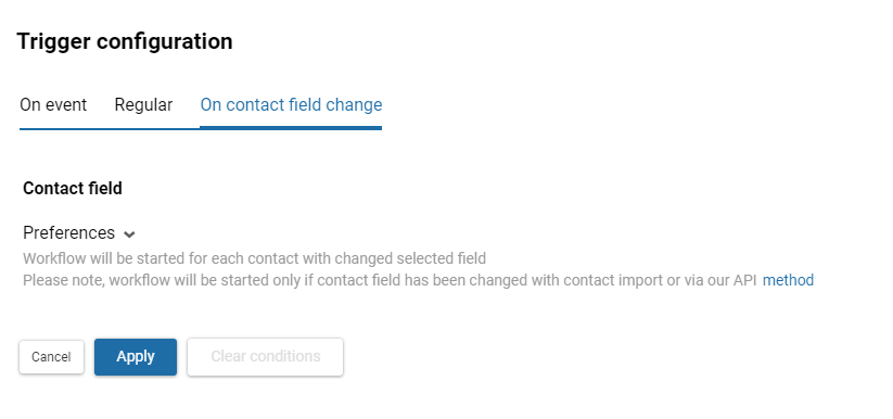 Workflow launch on contact field change